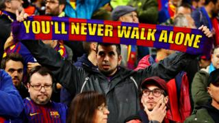 Barcelona fans at Anfield