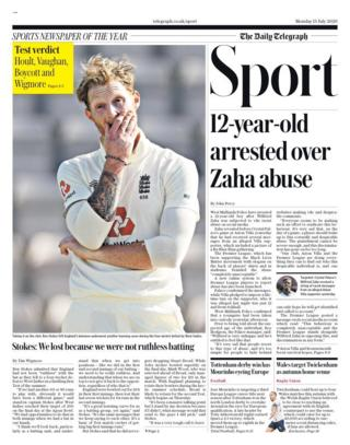 The back page of the Telegraph
