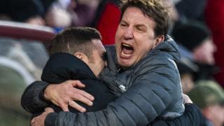 Hearts manager Daniel Stendel celebrates