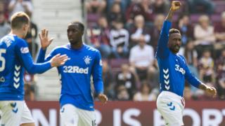 Rangers striker Jermain Defoe celebrates
