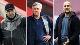 Jurgen Klopp, Carlo Ancelotti and Pep Guardiola