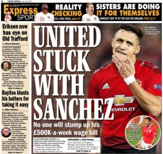 The Sunday Express says Manchester United are struggling to sell Alexis Sanchez
