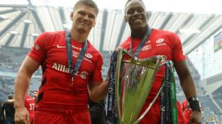 Sarries celebrate with the trophy