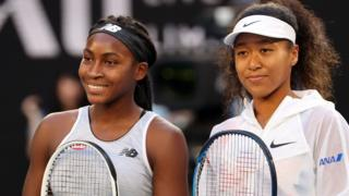 Coco Gauff and Naomi Osaka pose before their Australian Open match