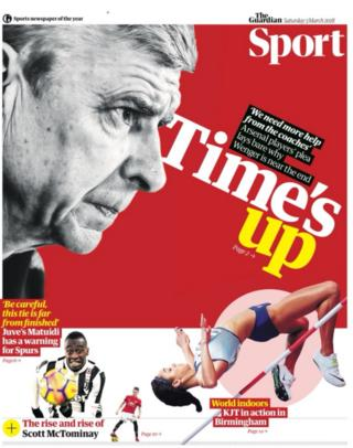 Guardian sport section on Saturday