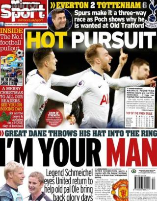 Monday's Daily Mirror back page