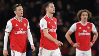Arsenal's players react after losing at home to Brighton