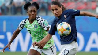 "Francisca Ordega in action with France""s Amel Majri"