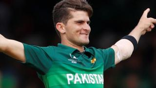 Pakistan's Shaheen Afridi celebrates taking a wicket