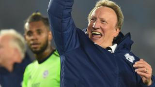 Cardiff manager Neil Warnock celebrates their win at Brighton