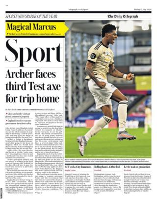 The back page of Friday's Telegraph