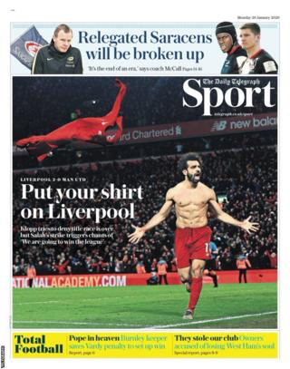 The back page of Monday's Telegraph