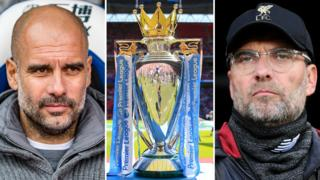 Pep Guardiola, the Premier League trophy and Jurgen Klopp