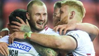 Wigan's Bevan French celebrates his try