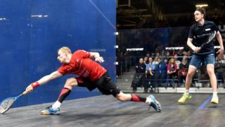 Action from the men's squash