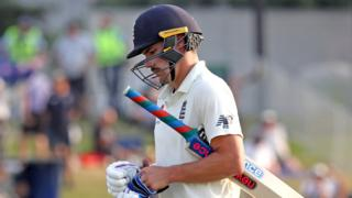 England opener Rory Burns walks off after being dismissed late on day four of the first Test against New Zealand