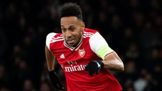 Pierre-Emerick Aubameyang playing in the 2019-20 Europa League for Arsenal