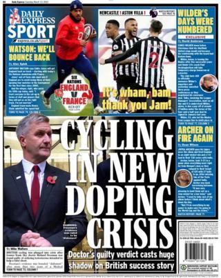 Última página do Daily Express no sábado