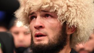 An emotional Khabib Nurmagomedov after announcing his UFC retirement
