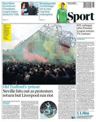 Friday's back pages: Guardian - 'Old Trafford's 'prison'