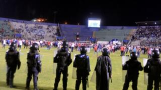 Riot police at olimpia v motagua in Honduras