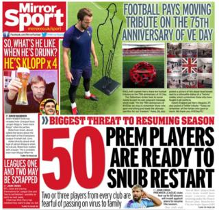 The Daily Mirror leads on player fears over the resumption of Premier League football