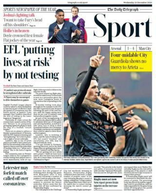 Daily Telegraph spor bölümünün ön sayfası
