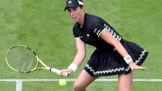 Johanna Konta plays a volley at Eastbourne