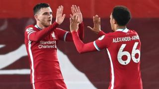 Andrew Robertson and Trent Alexander-Arnold celebrate Liverpool's second goal