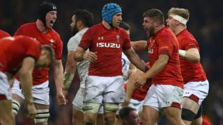 Wales players celebrate