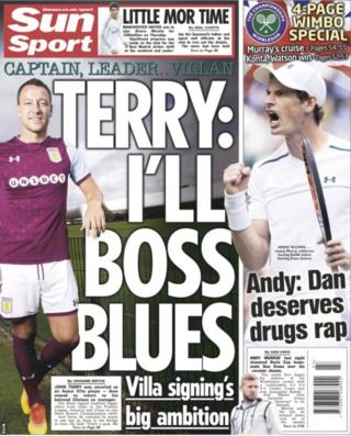 The Sun lead with John Terry's new deal at Aston Villa and report he has plans to return to Chelsea as their manager