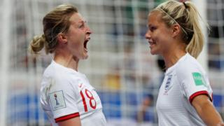Ellen White (left) celebrates scoring their first goal with Rachel Daly