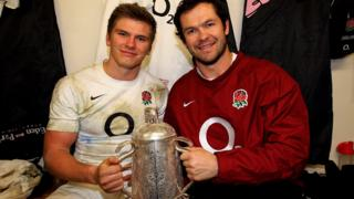 Owen Farrell and Andy Farrell in England kit with the Calcutta Cup