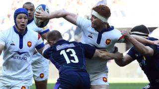 France lock Felix Lambey passes the ball to flanker Wenceslas Lauret