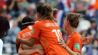 Netherlands celebrate Lineth Beerensteyn's goal