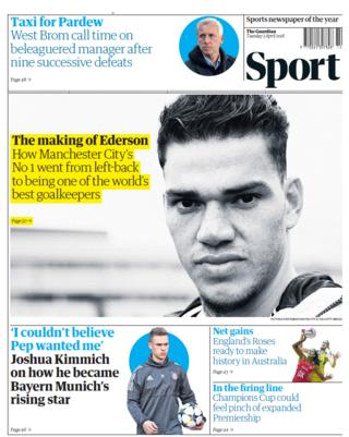 The Guardian back page on Tuesday