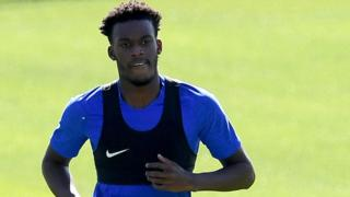 Callum Hudson-Odoi in training with Chelsea on Tuesday