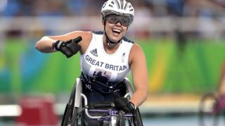 Great Britain's Hannah Cockroft celebrates winning the women's 400m T34 final at the Rio 2016 Paralympics