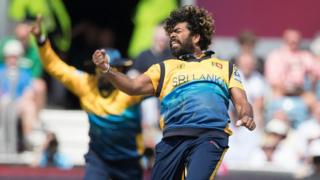 Lasith Malinga celebrates a wicket