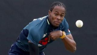 Jofra Archer bowls during his ODI debut for England against Ireland