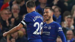 Eden Hazard celebrates scoring against West Ham with Chelsea captain Cesar Azpilicueta