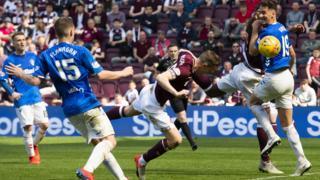 Hearts' Steven MacLean scores against Rangers