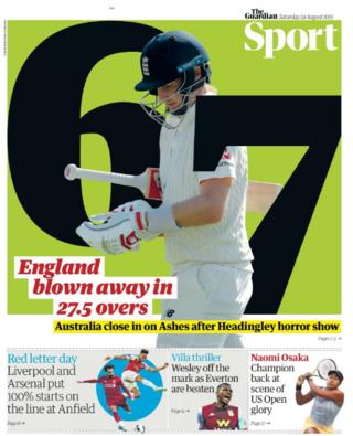 England's demise in the third Ashes Test dominates the back pages