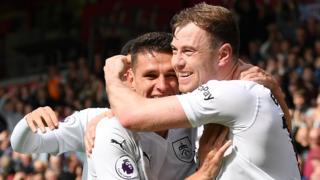 Ashley Barnes celebrates a goal for Burnley