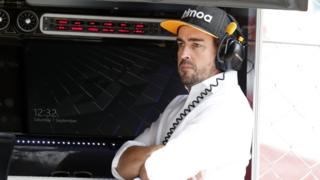 Fernando Alonso at Monza with the McLaren team on Saturday