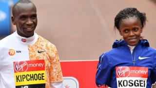 Brigid Kosgei and Elilud Kipchoge