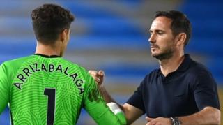Kepa Arrizabalaga and Frank Lampard