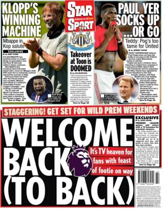 The Star and several papers lead on the amount of football that will be televised when the Premier League resumes