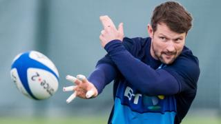Peter Horne in action during Scotland training