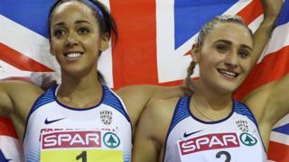 Katarina Johnson-Thompson and Niamh Emerson celebrate their gold and silver medals at the European Indoor Championships